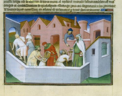 Travail et pauvreté : vente du grain, portage et aumône en argent (cliché BNF).